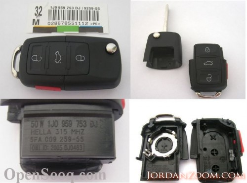 VW 3 BUTTON FLIP REMOTE KEY FOB COVER ONLY